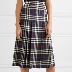 BURBERRY Pleated Checked Wool Midi Skirt 6